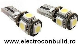 Bec auto led T10 canbus 5 smd  alb
