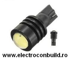 Bec auto led T10 High Power 3W cu lupa