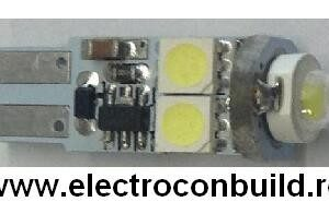 Bec auto led T10 canbus 5smd cu lupa