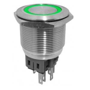 Intrerupator push metalic cu led verde EB820THE