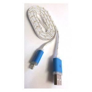 Cablu USB la MicroUSB textil plat led