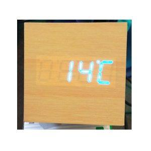 Ceas digital lemn led albastru VST869