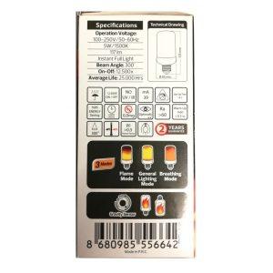 BEC LED 5W E27 CU EFECT FLACARA ED777HRZ
