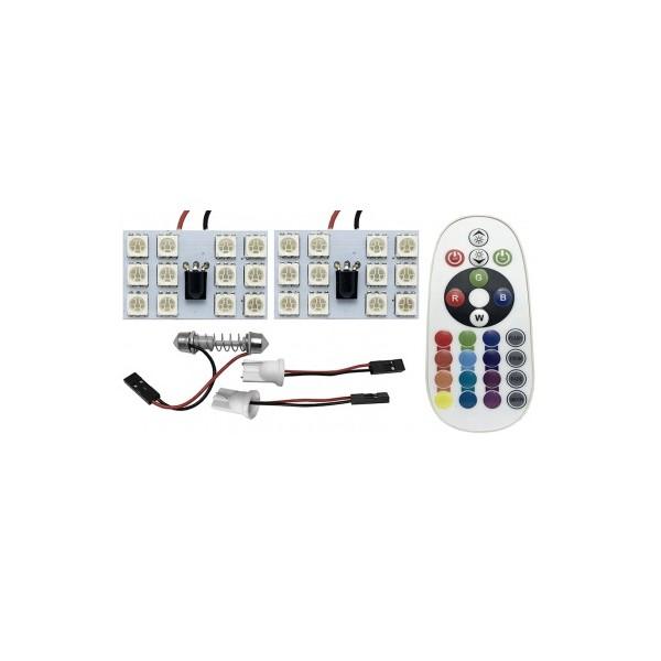 Set 2 segmente placute auto 12 LEDuri SMD RGB telecomanda ED911THE