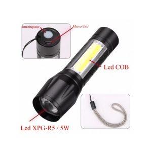 LANTERNA 1 LED 5W ZOOM XPE-COB LED