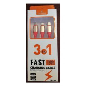 Cablu alimentare 3in1 cu led ELWORLD