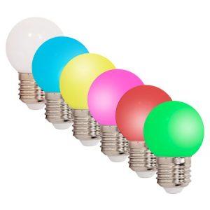 SET 6 BECURI LED E27 0.5W COLORATE
