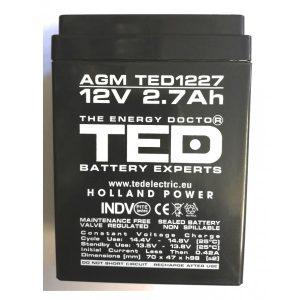 ACUMULATOR PLUMB ACID 12V 2.7AH ED12TD